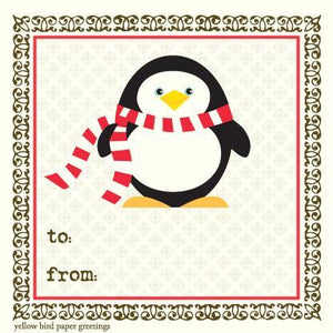 Christmas Penguin with a Scarf To/From Gift Tags