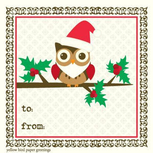 Christmas Santa Owl To/From Gift Tags