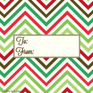 Christmas green Chevron pattern To/From Gift Tags