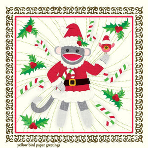 Christmas Santa Sock Monkey Gift Tags