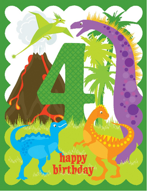 kid 4th birthday with dinosaurs and volcano