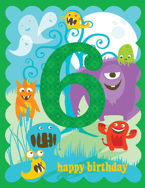 kid 6th glitter birthday card with funny monsters