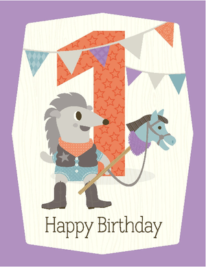 kids 1st toy horse birthday card