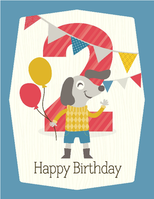 kids balloon 2nd birthday card