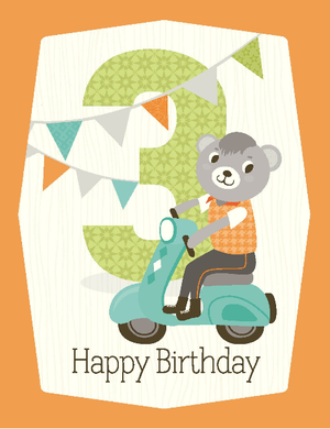 kids bear riding scooter 3rd birthday card