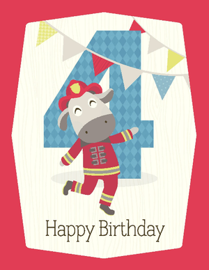 kids fireman 4th  birthday card