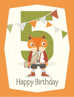 kid 5th birthday fox with skateboard