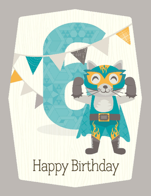 kids blue raccoon super hero 6th birthday greeting card