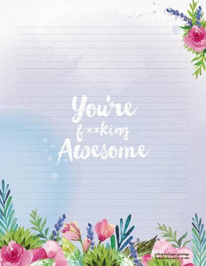 Floral images You're Awesome Stationery Writing Pad