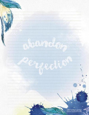 Water Colour Blue Feather Abandon Perfection Stationery Writing Pad
