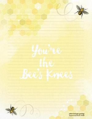 You're The Bee's Knees with flying bees stationery writing pad