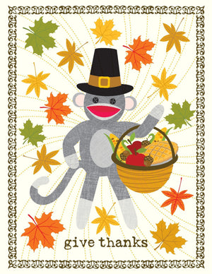 TGIVE 9001-Sock Monkey Thanksgiving Card