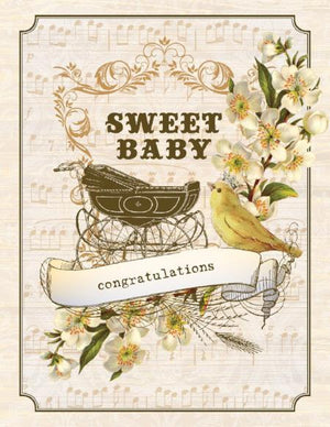 Vintage Baby Buggy Sweet Girl greeting Card