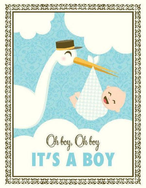 new baby, Stork It's a Boy greeting Card