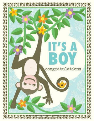 Monkey Around New Baby Boy Greeting card