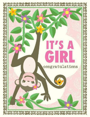 Monkey around new baby girl greeting card