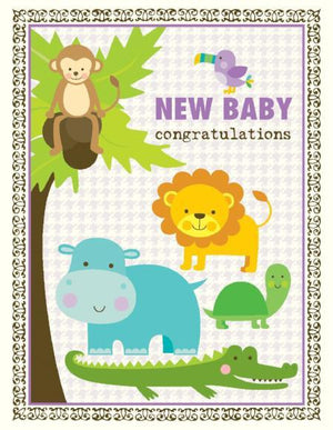 Rain Forest Baby Animals Congratulations greeting Card