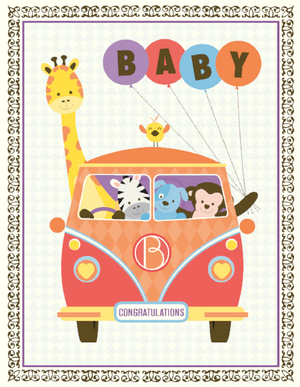 Vanagon Baby Animals greeting Card