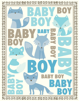 New Baby Boy fox greeting card