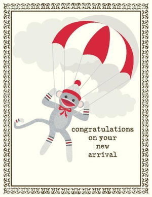 New Baby Sock Monkey greeting Card