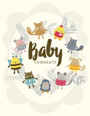 woodland baby Critters congrats on new baby greeting card