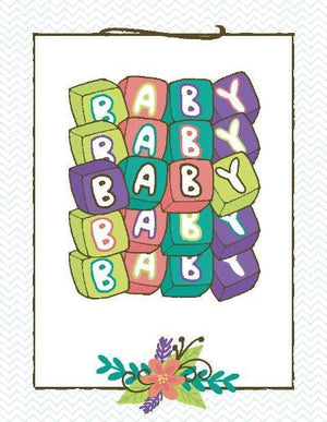Bright Colour Multi Text New Baby greeting card