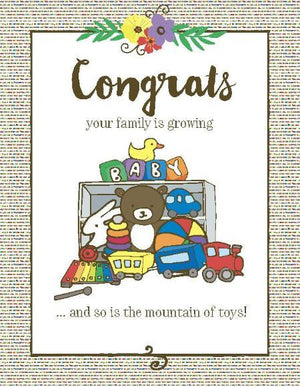 New baby mountain of toys congrats greeting card