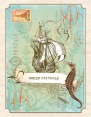 Vintage Tall Ship Nautical Birthday Card