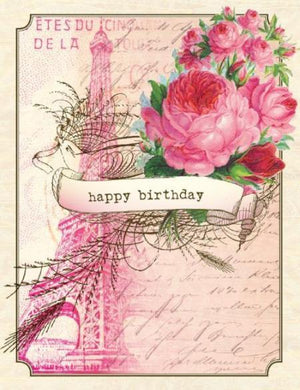 Vintage Eiffel Tower Birthday Card