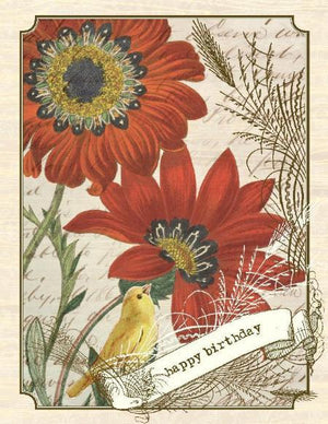 Vintage Gerbre Daisy Birthday Card