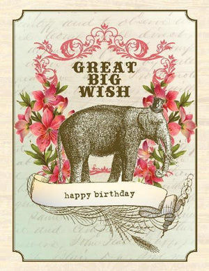 Vintage Elephant Big Wish Birthday Card