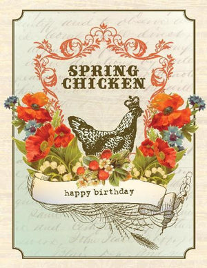Vintage Spring Chicken Birthday Greeting Card