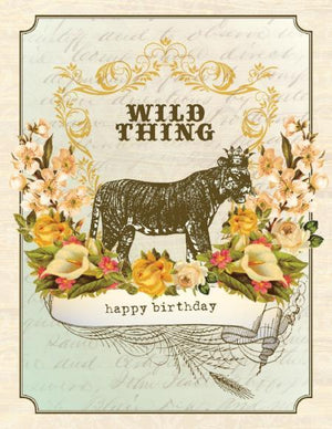 Vintage Tiger Wild Think Birthday Card