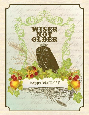 Vintage Owl Wiser Not Older Birthday Card