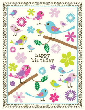Bright Coloured Tweet Birds Birthday Card