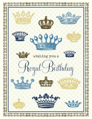 Vintage Royal Crowns Blue Birthday Card