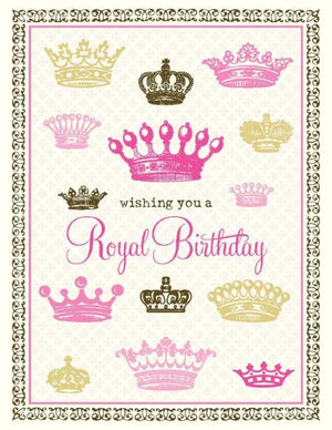 Vintage Crowns Pink Royal Birthday Card