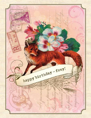 Vintage Fox, Foxy Birthday Card