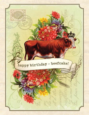 Vintage Beef Cake Birthday Card
