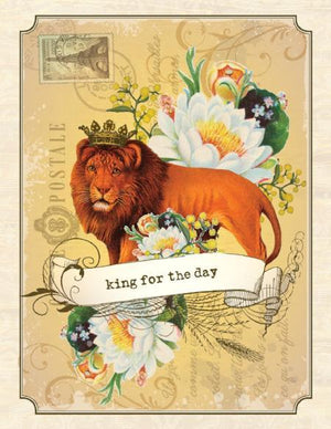 Vintage Lion King For A Day Birthday Card