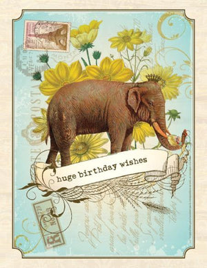 Vintage Elephant Huge Wishes Birthday Card