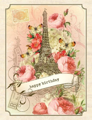 VB9103-Aviary Eiffel Birthday Card