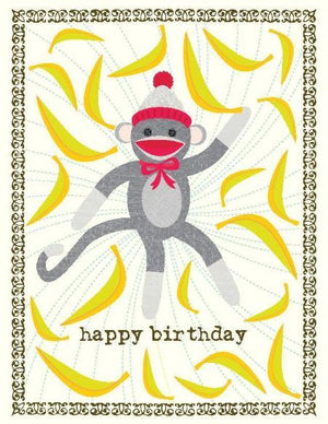 Sock Monkey Birthday Card