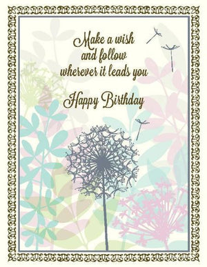 Dandelion Petals Follow Your Wish Birthday Card