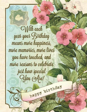 Vintage The Lives You Touch, Special Birthday Card