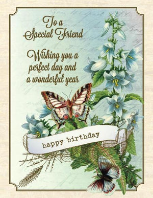 Vintage Butterfly and Flowers To A Special Friend Birthday Card