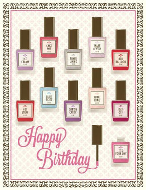 Multi Saying Nail Polish Happy Birthday Card