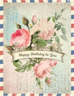 Vintage Air Mail flower bouquet Wishes To You Birthday Card