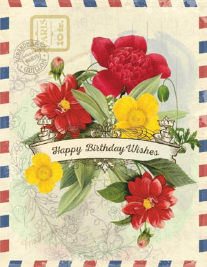 Vintage Air Mail Bouquet Birthday Wishes Card