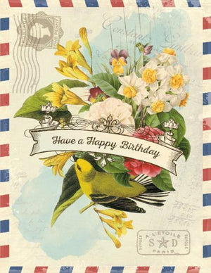 Vintage Air Mail Bouquet Have A Happy Birthday Card
